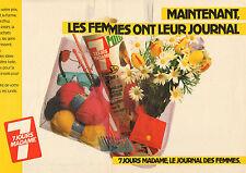 """Publicité 1984 ( Double page )  JOURNAL DES FEMMES """" 7 JOURS MADAME """""""