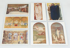 SET OF SEVEN ORIGINAL POSTCARDS OF PAINTINGS FROM THE BOSTON LIBRARY