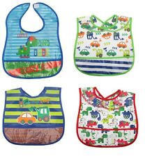 12 X Baby Boys 100% Peva Velcro Bib  Bibs Job Lot Bulk Buy Wholesale Easy Clean