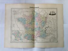 GRAVURE FRANCE FEODALE 1884 MIGEON CARTE MAP OLD WORLD SENGTELLER MOYEN AGE