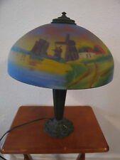 Antique Chicago Arts & Crafts Reverse Painted Chipped Ice Lamp Anderon Foundry