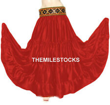 TMS Satin 25 Yard 4 Tier Skirt Belly Dance Costume Gypsy Tribal Troup | 27 Color