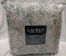 $400 Ralph Lauren Adrienne Paisley Blue Teal 4-Piece Queen Comforter Set