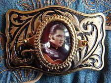 New  Handcrafted in UK Belt Buckle Elvis Presley Gold/Black Metal ,rock n roll