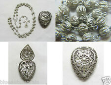 † STUNNING ANTIQUE SOLID 800 STERLING SILVER FILIGREE ROSARY & HEART BOX CASE †