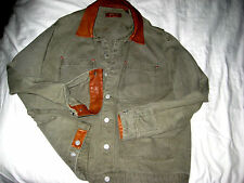 ORVIS LIGHT DENIM COTTON LEATHER TRIM LOGO BUTTON BRASS RIVET JEAN JACKET-NICE-L