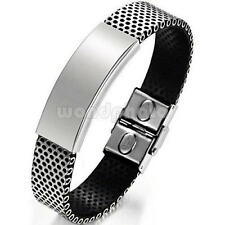 Silver Stainless Steel Black PU Leather Cuff Wristband Bracelet For Men Boys