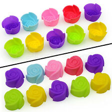 10 Silicone Rose Muffin Cookie Cup Cake Tin Baking Mold Jelly Maker Baking Mould
