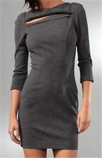 DVF Diane Von Furstenberg SLASHED ARITA Heather Grey Felted Wool Dress 14 $425