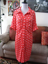 LAUNDRY by Design sz 12 Coral Red & White Print Stretch Jersey Shirt Dress