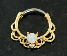 1 Pc 14K Gold Plated Lacey W/ Single White Opal Septum Clicker