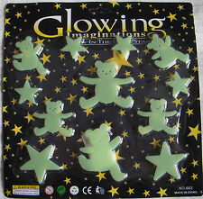 Glow In The Dark Stars & Teddy Bear Stickers bedroom ceiling wall nursery night