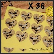 36 x Heart THANK YOU Kraft Stickers Wedding Favours Vintage Craft Seals Gift