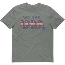 Nwt Life Is Good Men's We Are USA Crusher Tee, Color Heather gray, size M or L