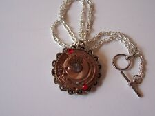 Steampunk Vintage Watch Movement Pendant Necklace OOAK Ruby Copper Face Crystals