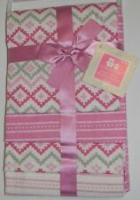 New Cribmates Pink White Diamond Heart Baby Girl 4 Pk Flannel Receiving Blankets
