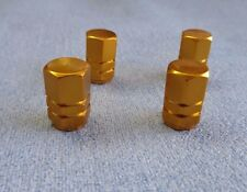 VOLVO GOLD METAL DUST VALVE CAPS TYRE WHEEL ALUMINIUM SOLID HEXAGON COVER