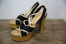 Vtg 70s Women's Black & Cream Wood Platform High Heel Sandals Shoes Boho Hippie