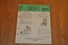 Ultra 6002  Vintage Record Player Service Manual