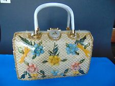 Shells Atlas Wicker Handbag Princess Charming Vintage Purse Seashells Brocade