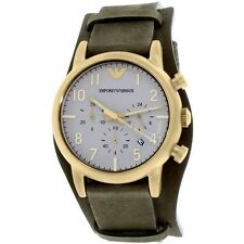 EMPORIO ARMANI ANTIQUE GOLD TONE,GREEN SOFT LEATHER CUFF BAND WATCH AR1832