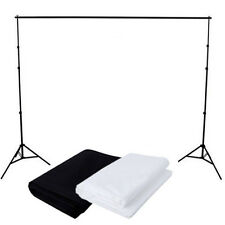 Photography Studio Black + White Muslin Cotton Backdrop Background Stand Kit Set