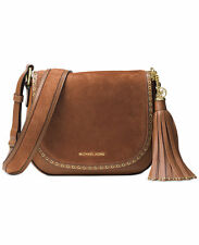 Michael kors Brooklyn Medium Saddle Bag Crossbody suede leather luggage NWT