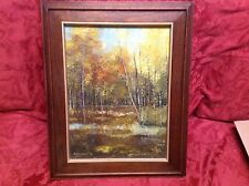 Beautiful ESTATE  Forest landscape1978 signed V.Chaiduang Original Oil painting