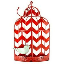 Distressed Red Chevron Bird Cage Wall Decor. Contemporary Style Home Decor