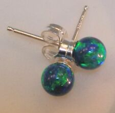Petite BLACK FIRE OPAL Ball Post Sterling Earrings, Perfect! Sterling Silver 925