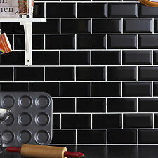 Metro 20x10cm Black Gloss Bevelled Edge Tiles (1 Box/SQM 50 Tiles Per Box)