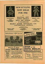 1946 PAPER AD Mary Anne Doll Co Lou Katrinka Rushton Co Stuffed Toys Animals