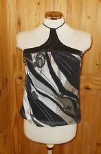 NEXT black silver grey silk swirl halterneck camisole vest tunic party top 12 40