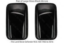2 Grandes Cabezas De Espejo De Ala Negro Brillante con elementos de calefacción para defender 90 110