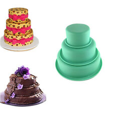 """3 Layers Round Cake Pan Set Silicone Baking Mold for Wedding Party 3"""" 6"""" 8"""" NEW"""