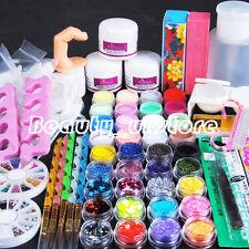 UK Stock Pro Acrylic Powder Glitter Nail Art Primer Block False Tips Kit Set
