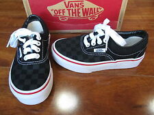 NEW VANS ERA Skate SHOES Kids Boys size 10.5 Black Checkerboard Canvas