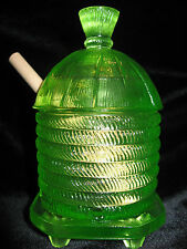 Green Yellow Vaseline glass serving honey pot bee hive pattern jar uranium dish