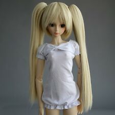 41# Blonde Pigtail Snap-on Amphibious Wig 1/4 MSD DOD DZ BJD Dollfie 7-8""