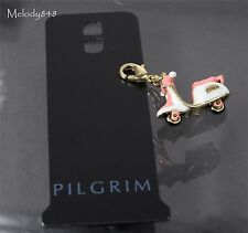 Danish PILGRIM Clasp-On-Charm Gold/White/Peach Cute Moped Scooter Vespa BNWT