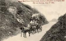Royal Mail Parcel Post Coach London to Brighton Clayton Hill last Journey 1905