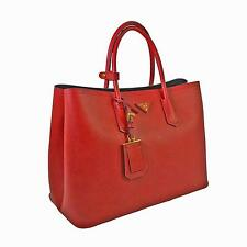 PRADA BN2761 2A4A Fuoco Red Cuir Leather Saffiano Double Tote Bag rrp £1800-