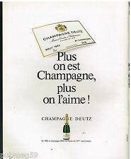 Publicité Advertising 1987 Le Champagne Deutz