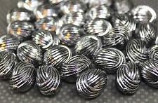 Silver-Gray w/ Black Oval Corrugated 19x14mm Acrylic Beads 10ea  B196