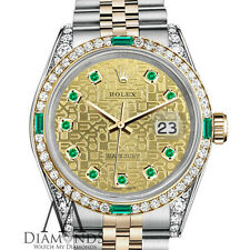 Ladies Rolex Steel and Gold 26 mm Datejust Two Tone Emerald & Diamond Watch
