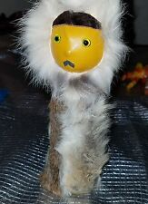 VINTAGE HAND MADE. ESKIMO/INUIT ANIMAL FUR DRESSED LEATHER FACED GLASS EYED DOLL