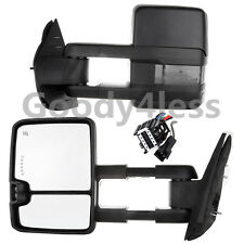 Black 07-13 Chevy GMC Mirrors Power Heated SMOKE LED Signal Backup Lamps