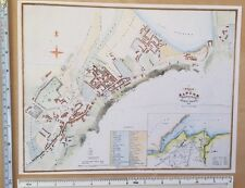"""Old Antique colour map of Bangor, Wales: 1800's, 1834: 12"""" x 9.5"""" John Wood"""