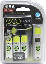 USB AA 1.5V Rechargeable Batteries 4CT,  Lithium 1040 mAh (USBCell ECO)