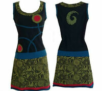 Green black mix spiral embroidered 100% cotton hippy body fitted boho dress,